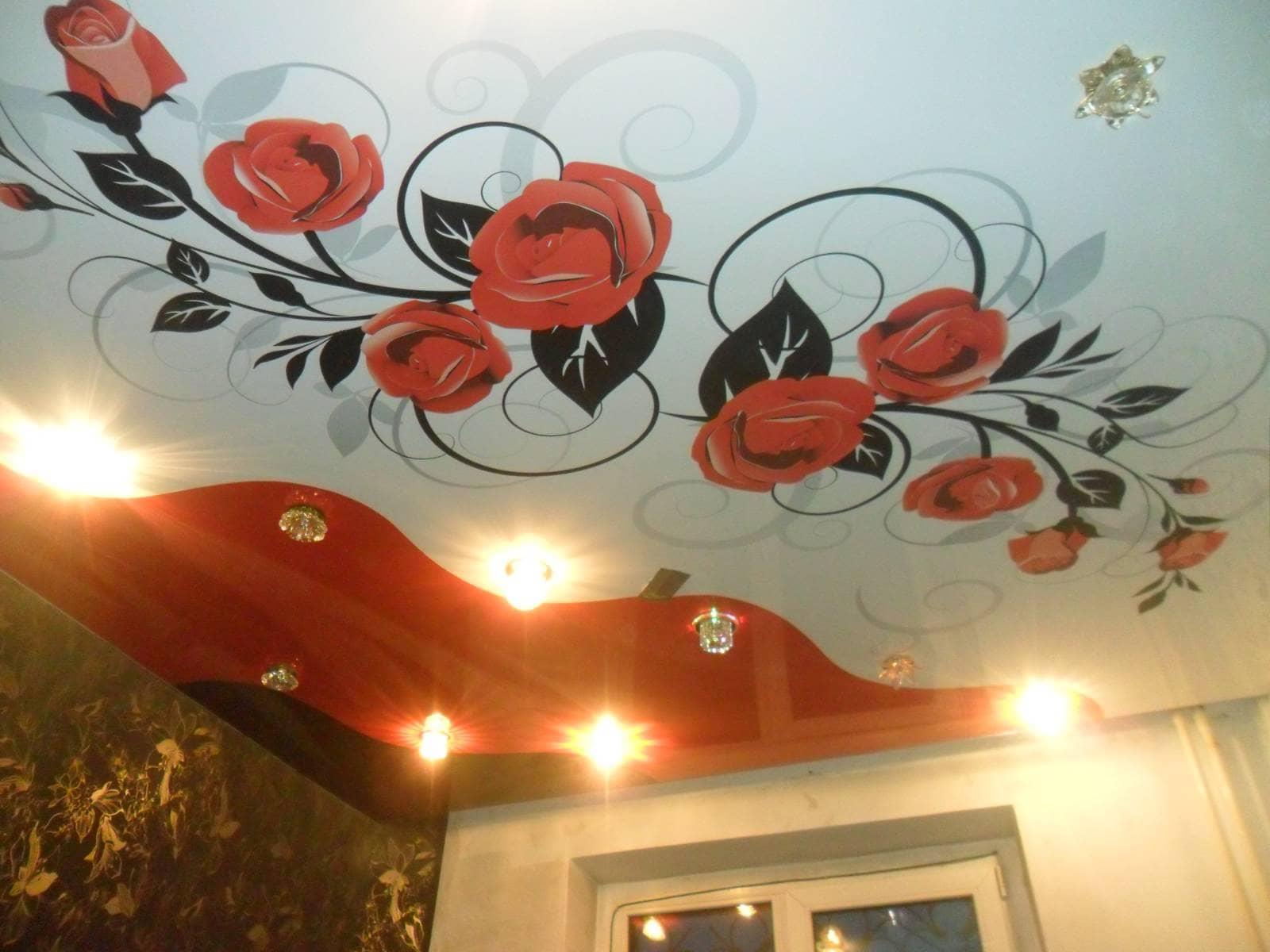 Потолок натяжной из двух цветов фото в зале